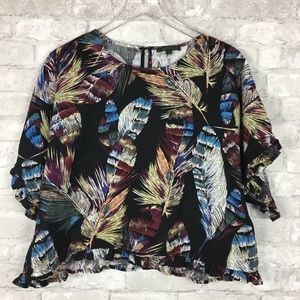 For Cynthia Bold Feather Linen Blend Ruffle Blouse